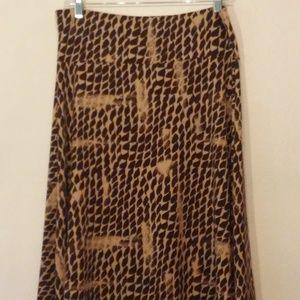 LULAROE Azure Midi Brown & Tan Skirt